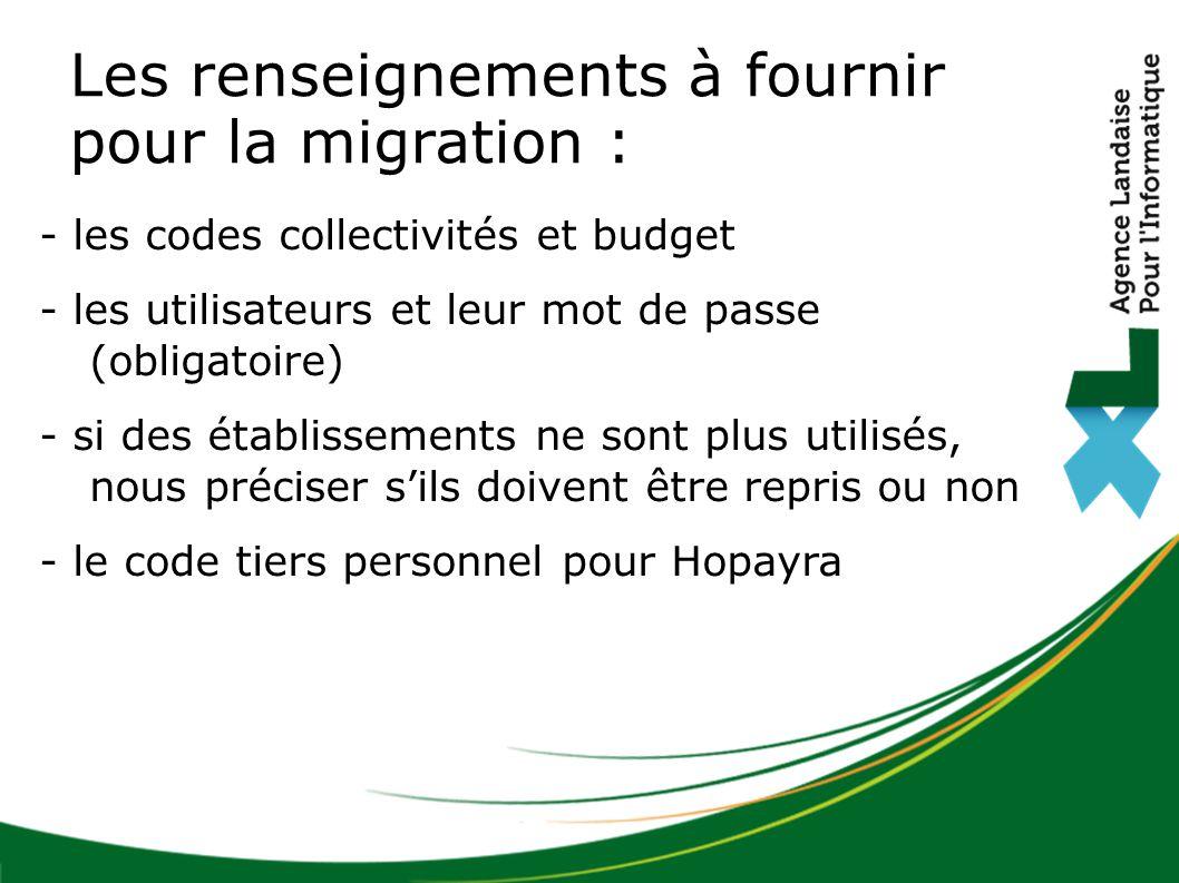 Les renseignements à fournir pour la migration :