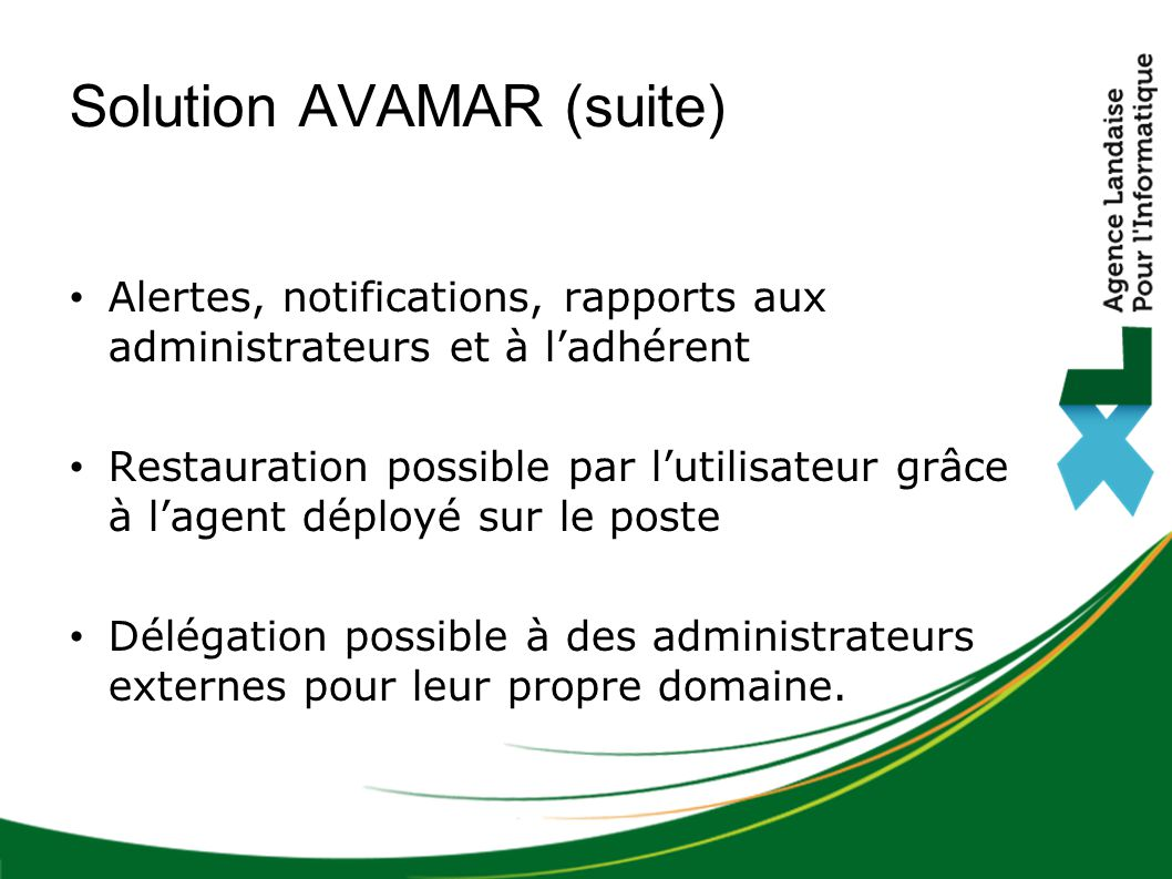Solution AVAMAR (suite)