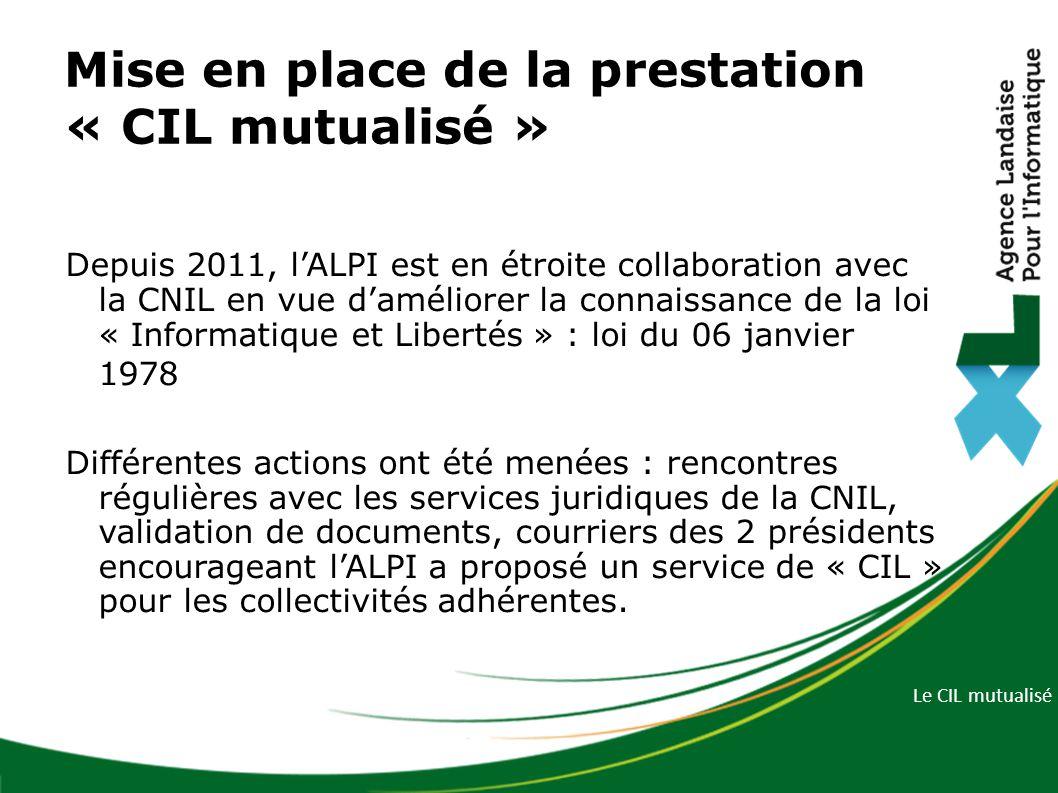 Mise en place de la prestation « CIL mutualisé »