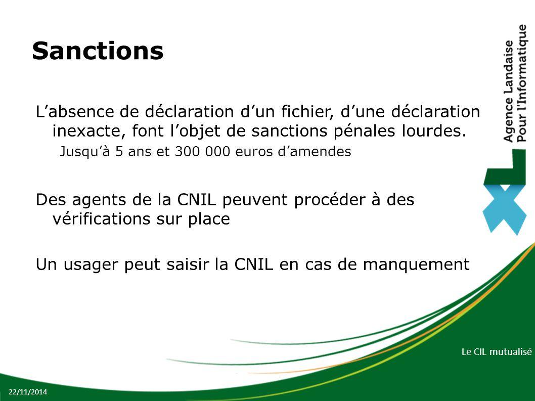 Sanctions L'absence de déclaration d'un fichier, d'une déclaration inexacte, font l'objet de sanctions pénales lourdes.