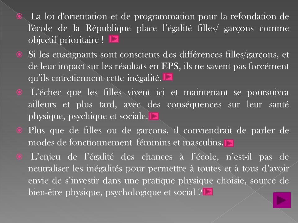 La loi d orientation et de programmation pour la refondation de l école de la République place l'égalité filles/ garçons comme objectif prioritaire !