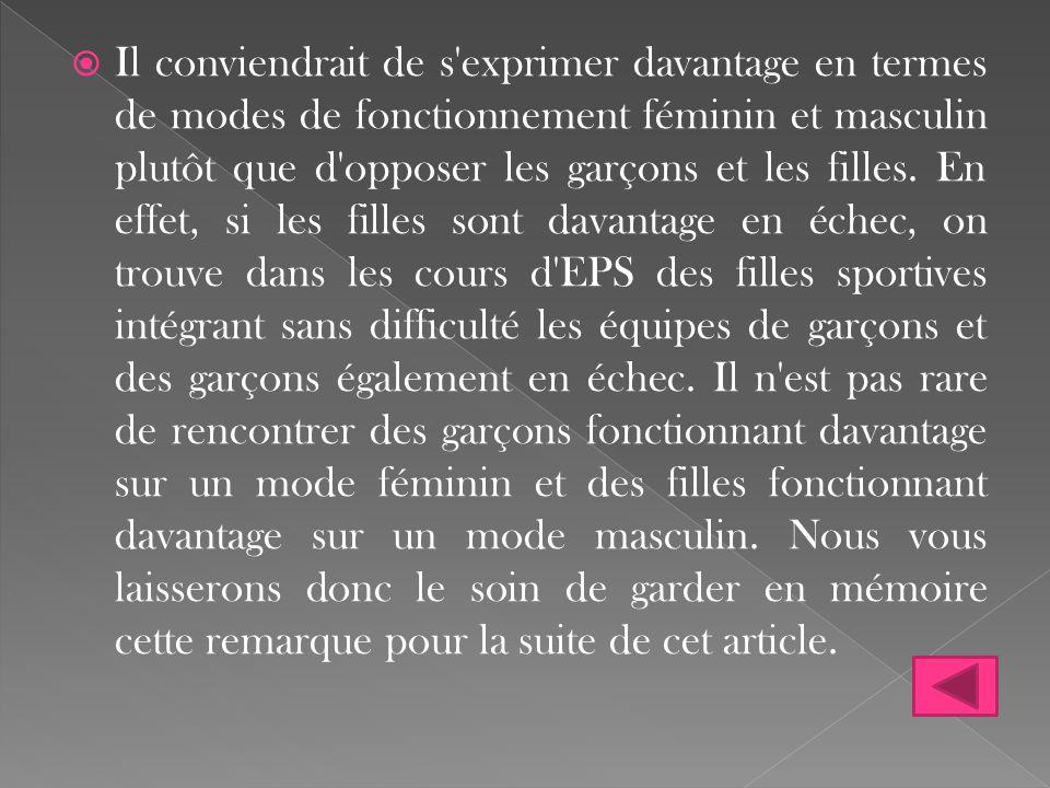 Il conviendrait de s exprimer davantage en termes de modes de fonctionnement féminin et masculin plutôt que d opposer les garçons et les filles.