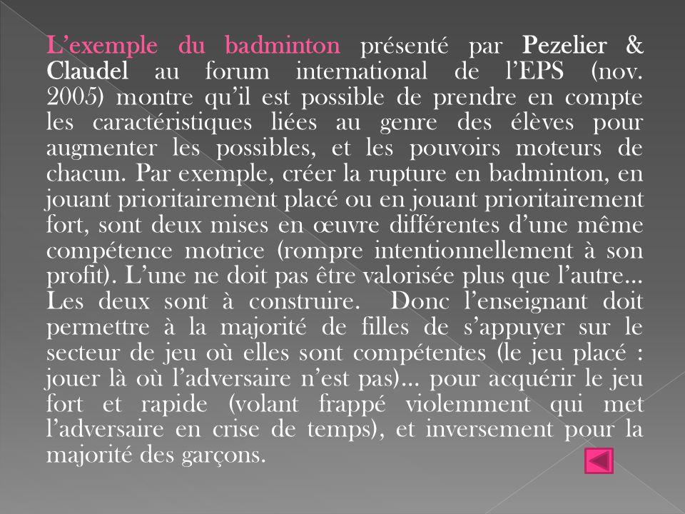 L'exemple du badminton présenté par Pezelier & Claudel au forum international de l'EPS (nov.
