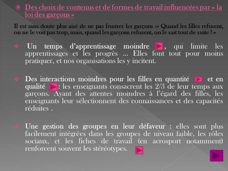 Des choix de contenus et de formes de travail influencées par « la loi des garçons »