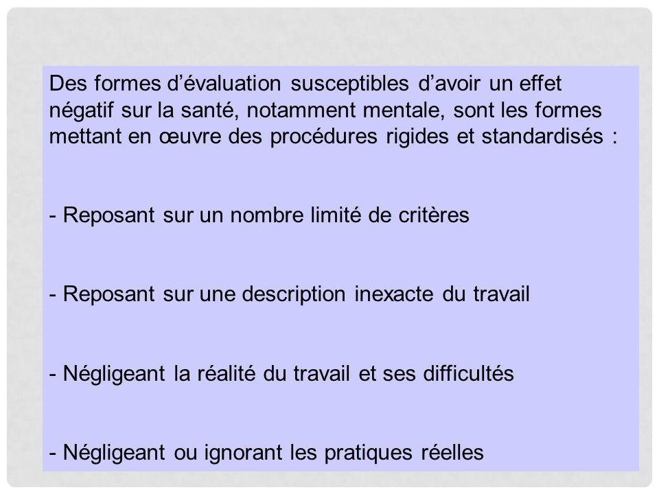 Des formes d'évaluation susceptibles d'avoir un effet négatif sur la santé, notamment mentale, sont les formes mettant en œuvre des procédures rigides et standardisés :