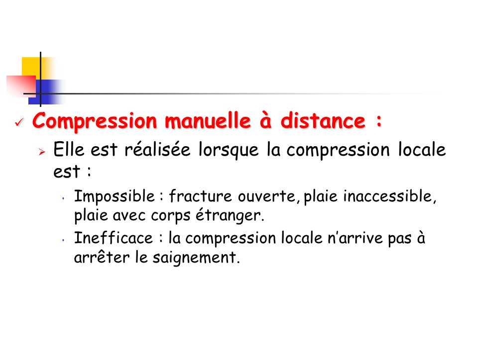 Compression manuelle à distance :