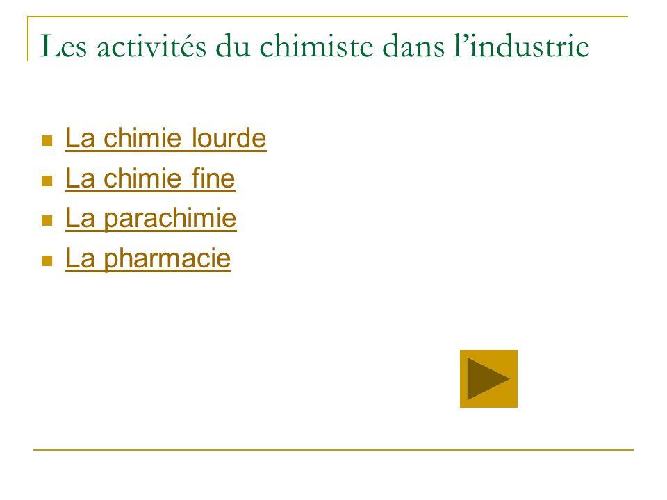 Les activités du chimiste dans l'industrie