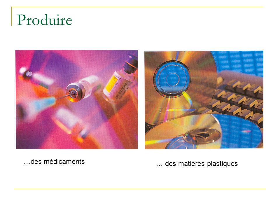 Produire …des médicaments … des matières plastiques