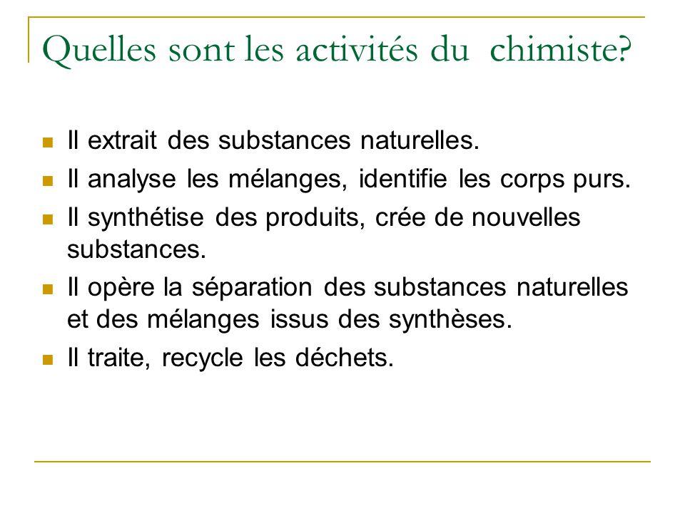 Quelles sont les activités du chimiste