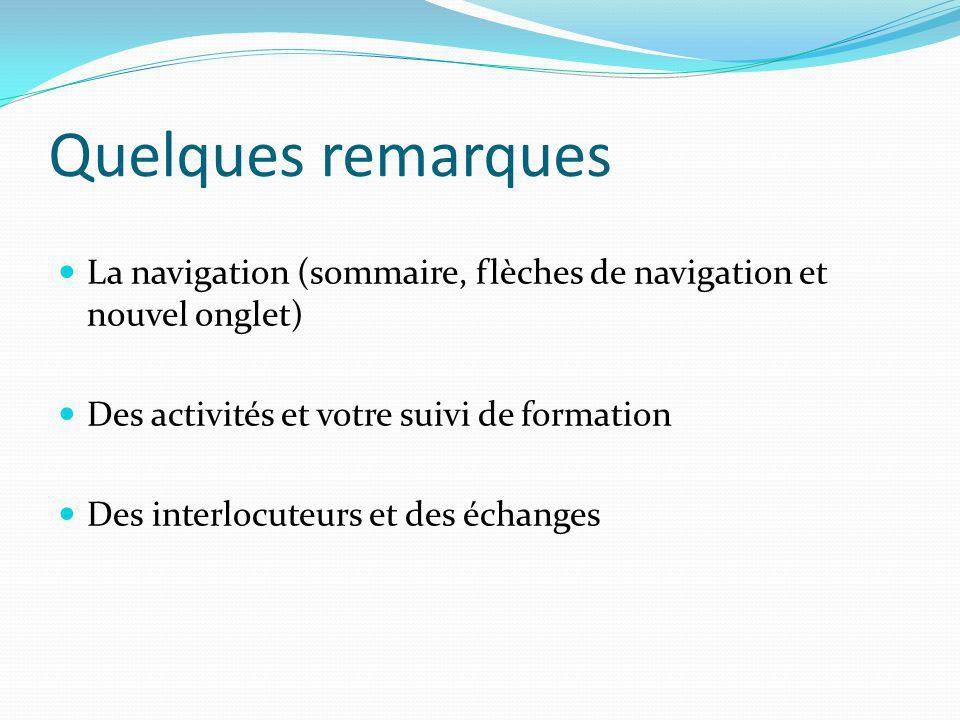 Quelques remarques La navigation (sommaire, flèches de navigation et nouvel onglet) Des activités et votre suivi de formation.