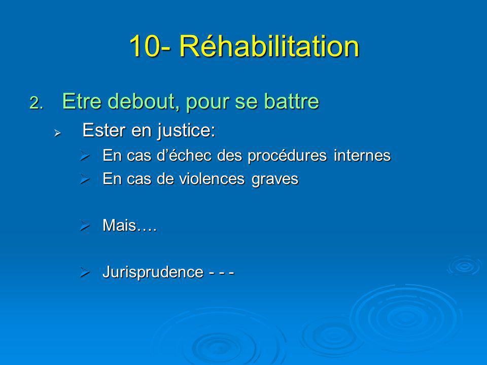 10- Réhabilitation Etre debout, pour se battre Ester en justice: