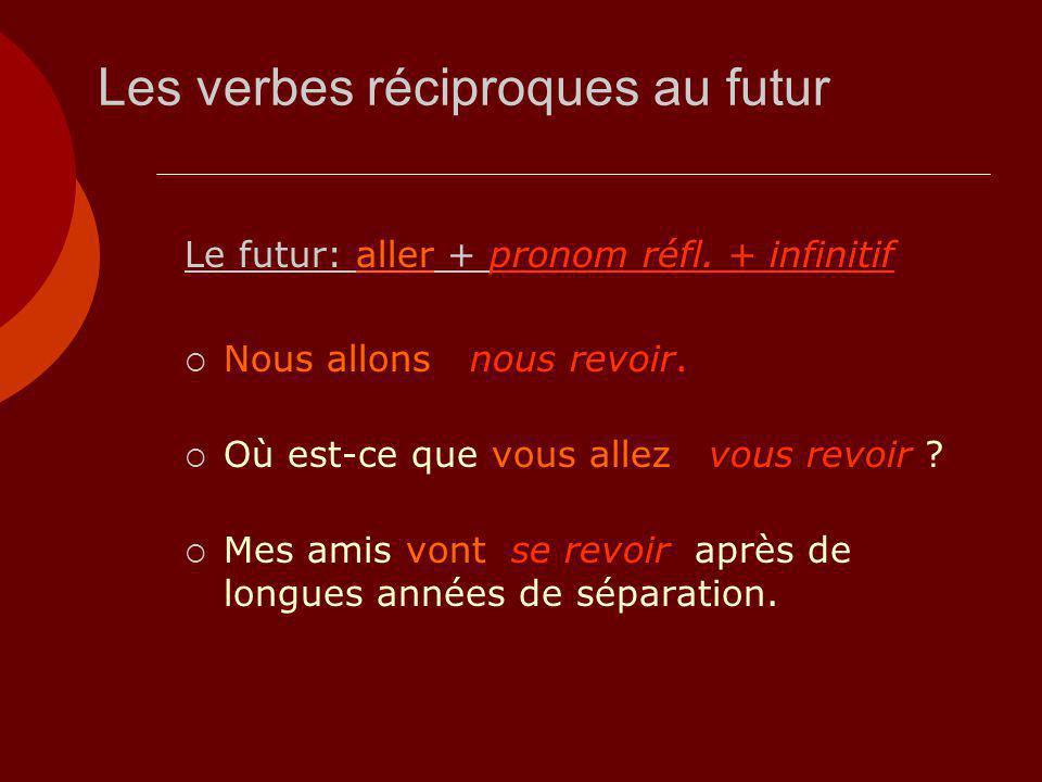 Les verbes réciproques au futur