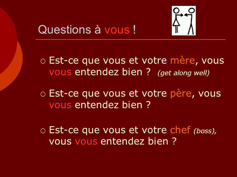 Questions à vous ! Est-ce que vous et votre mère, vous vous entendez bien (get along well)