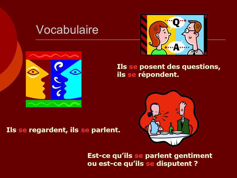 Vocabulaire Ils se posent des questions, ils se répondent.