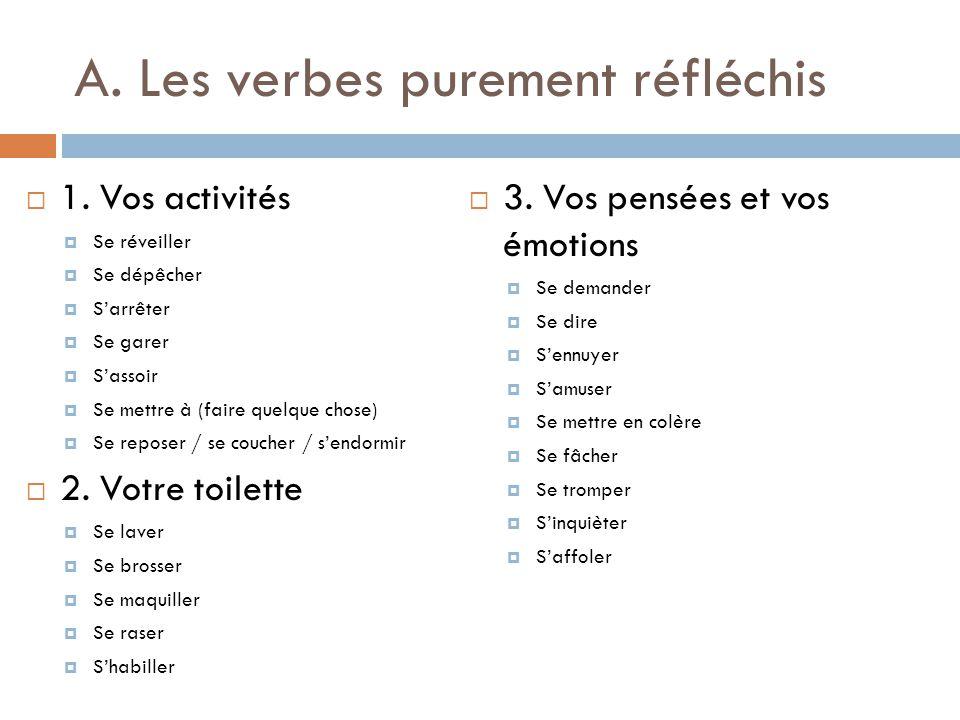 A. Les verbes purement réfléchis