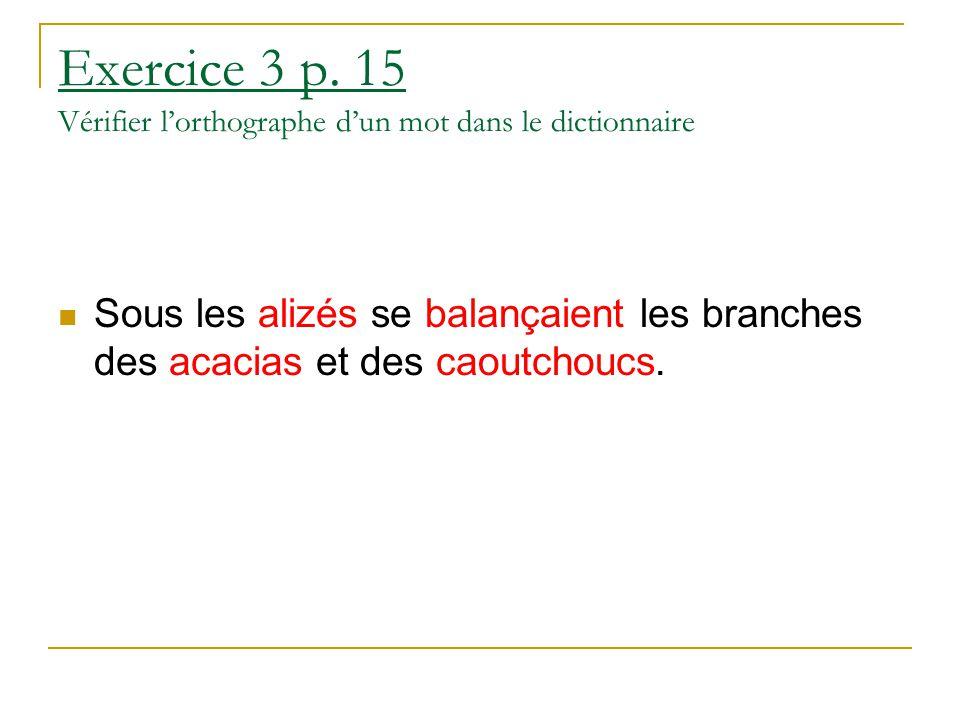 Exercice 3 p. 15 Vérifier l'orthographe d'un mot dans le dictionnaire