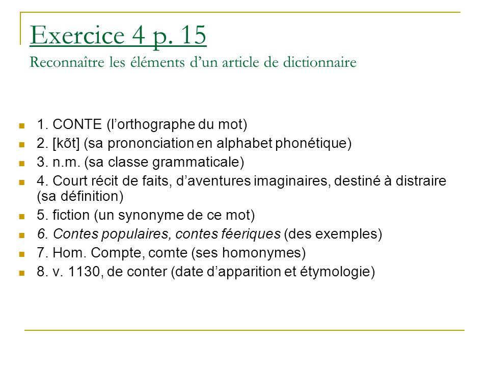 Exercice 4 p. 15 Reconnaître les éléments d'un article de dictionnaire