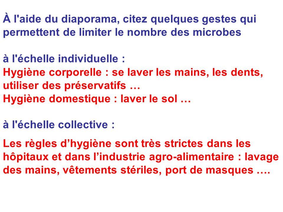 À l aide du diaporama, citez quelques gestes qui permettent de limiter le nombre des microbes