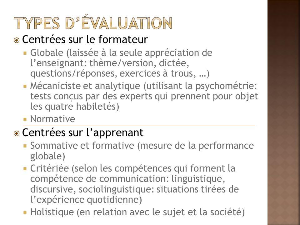Types d'évaluation Centrées sur le formateur Centrées sur l'apprenant