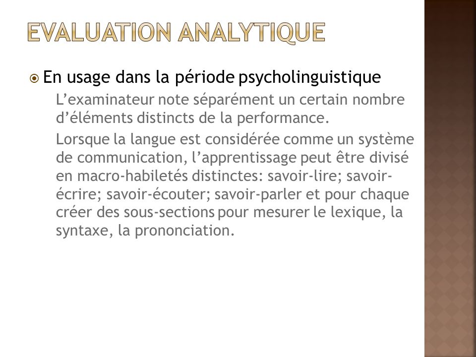 Evaluation analytique
