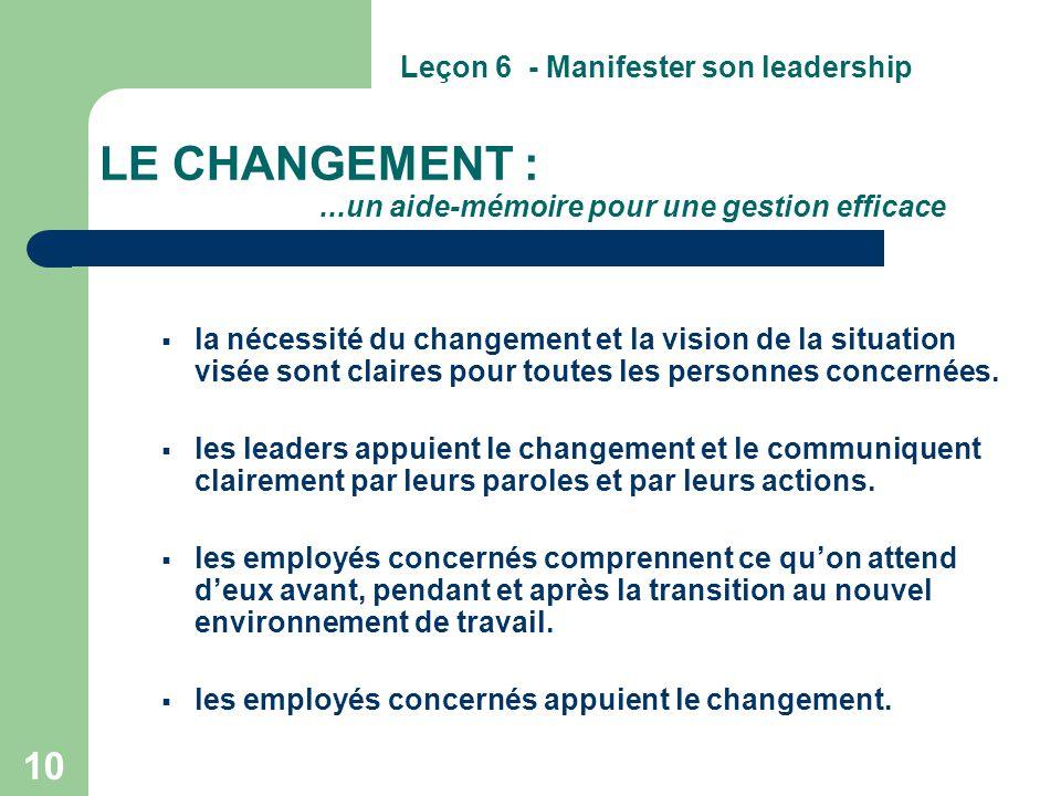 LE CHANGEMENT : ...un aide-mémoire pour une gestion efficace