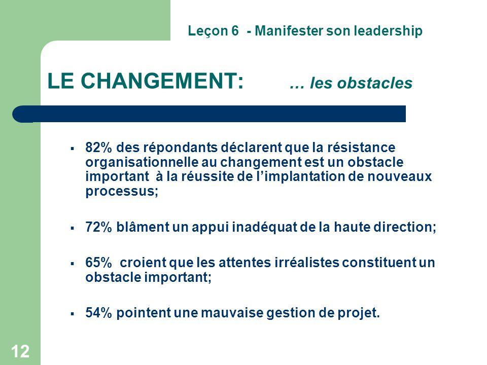 LE CHANGEMENT: … les obstacles