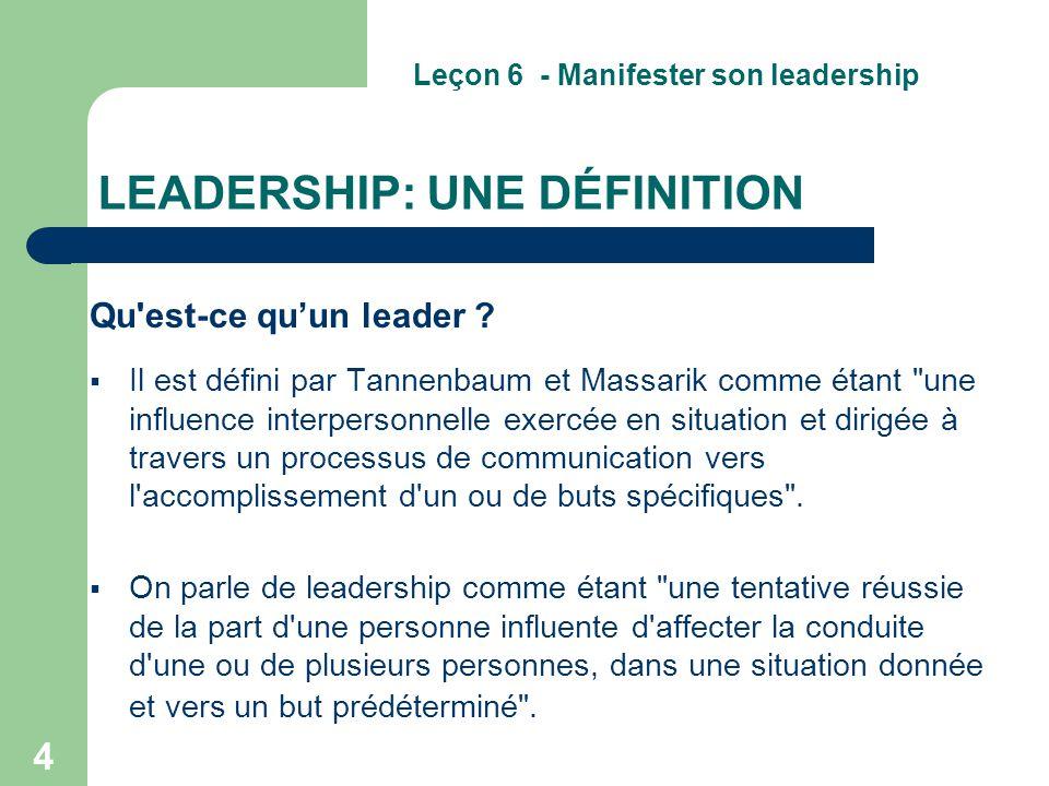 LEADERSHIP: UNE DÉFINITION