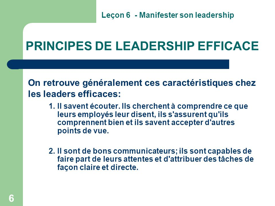 PRINCIPES DE LEADERSHIP EFFICACE