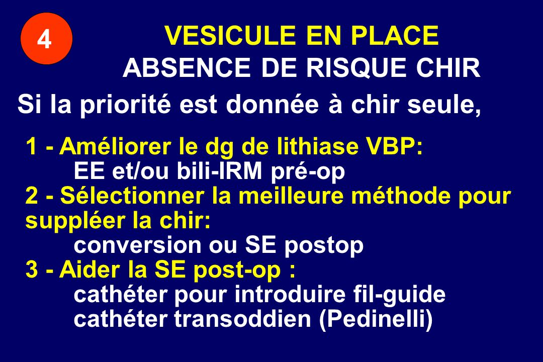 VESICULE EN PLACE ABSENCE DE RISQUE CHIR