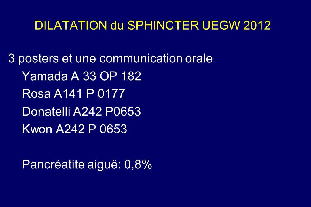 DILATATION du SPHINCTER UEGW 2012
