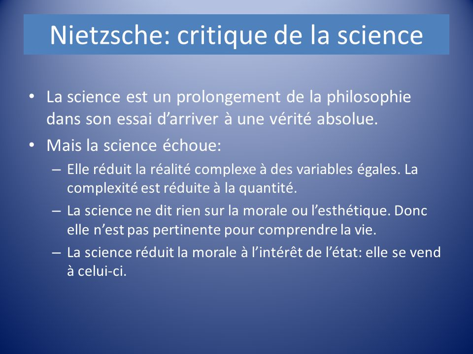 Nietzsche: critique de la science