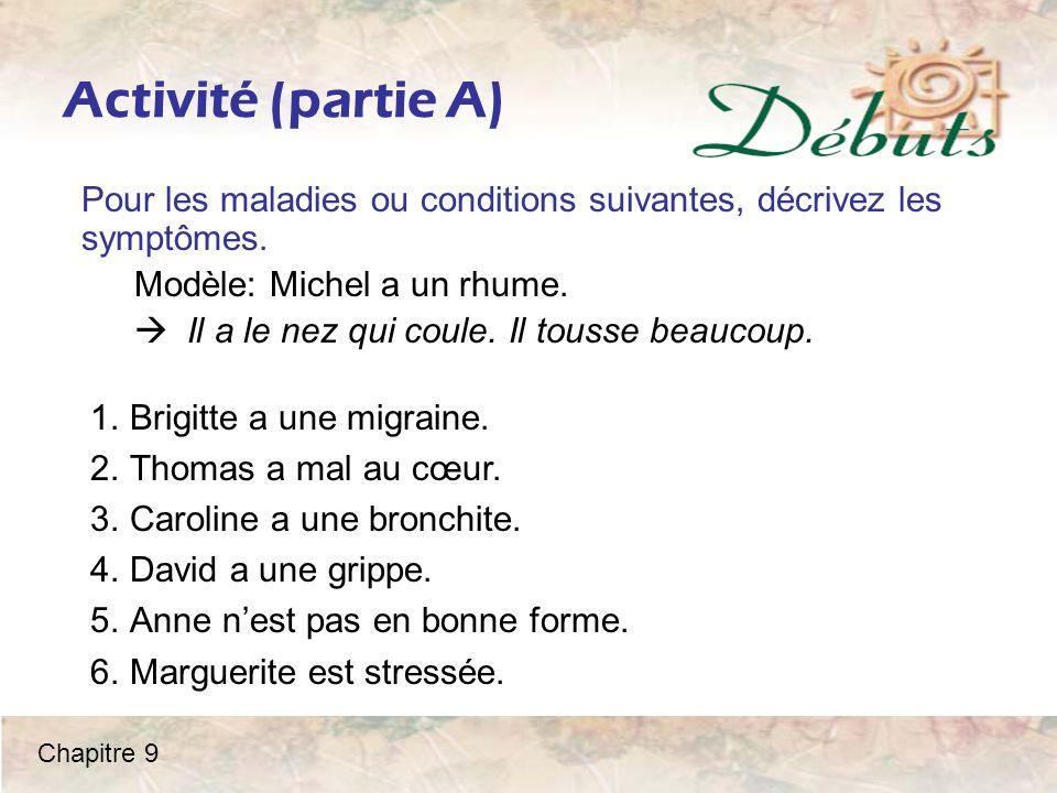Activité (partie A) Pour les maladies ou conditions suivantes, décrivez les symptômes. Modèle: Michel a un rhume.