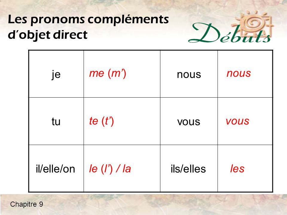 Les pronoms compléments d'objet direct