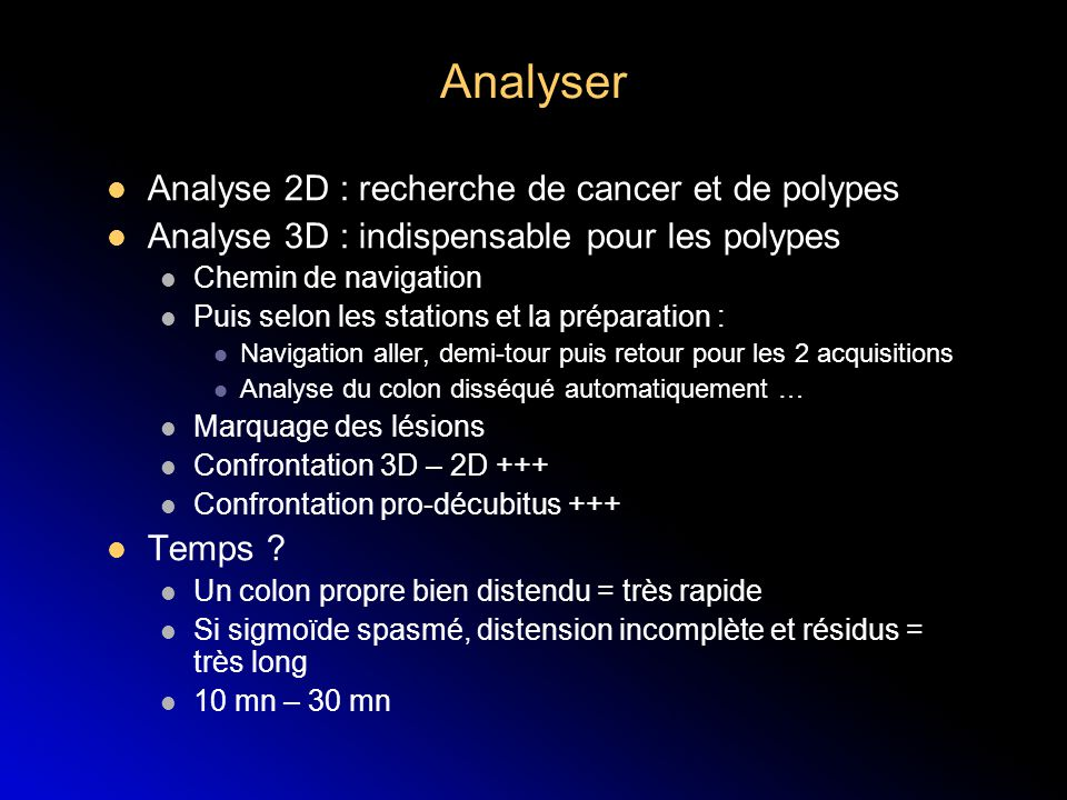 Analyser Analyse 2D : recherche de cancer et de polypes