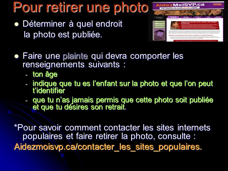 Pour retirer une photo Déterminer à quel endroit la photo est publiée.