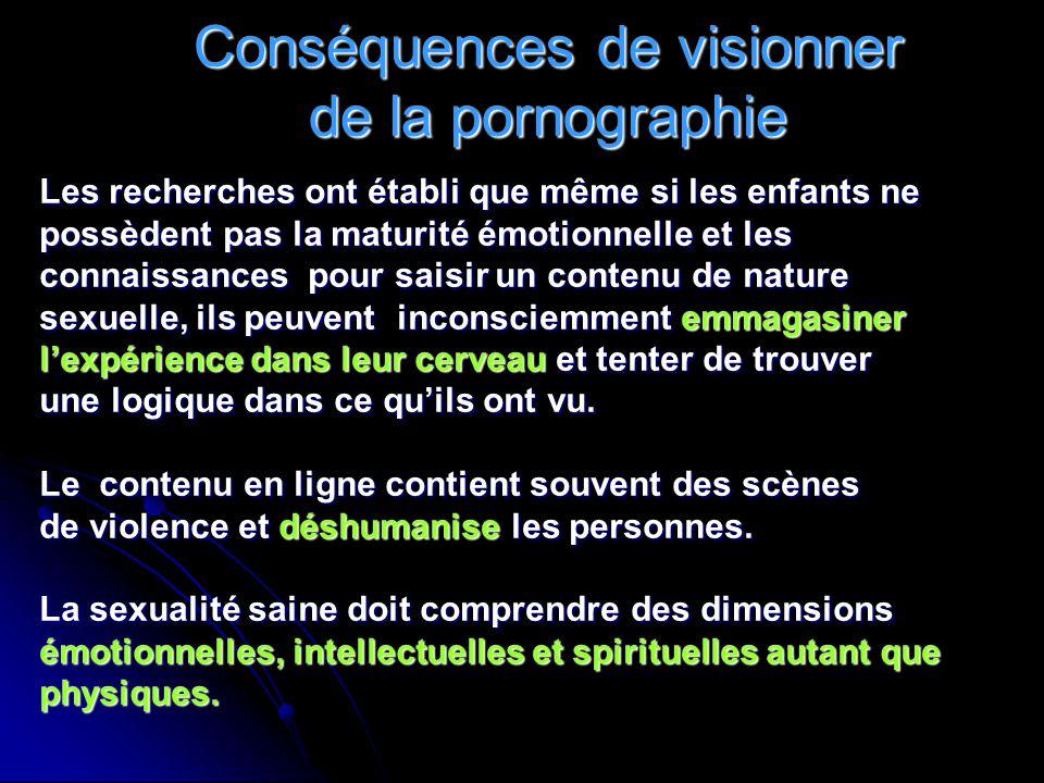 Conséquences de visionner de la pornographie