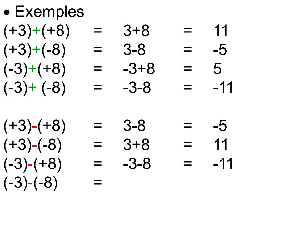  Exemples (+3)+(+8) = 3+8 = 11. (+3)+(-8) = 3-8 = -5. (-3)+(+8) = -3+8 = 5. (-3)+ (-8) = -3-8 = -11.