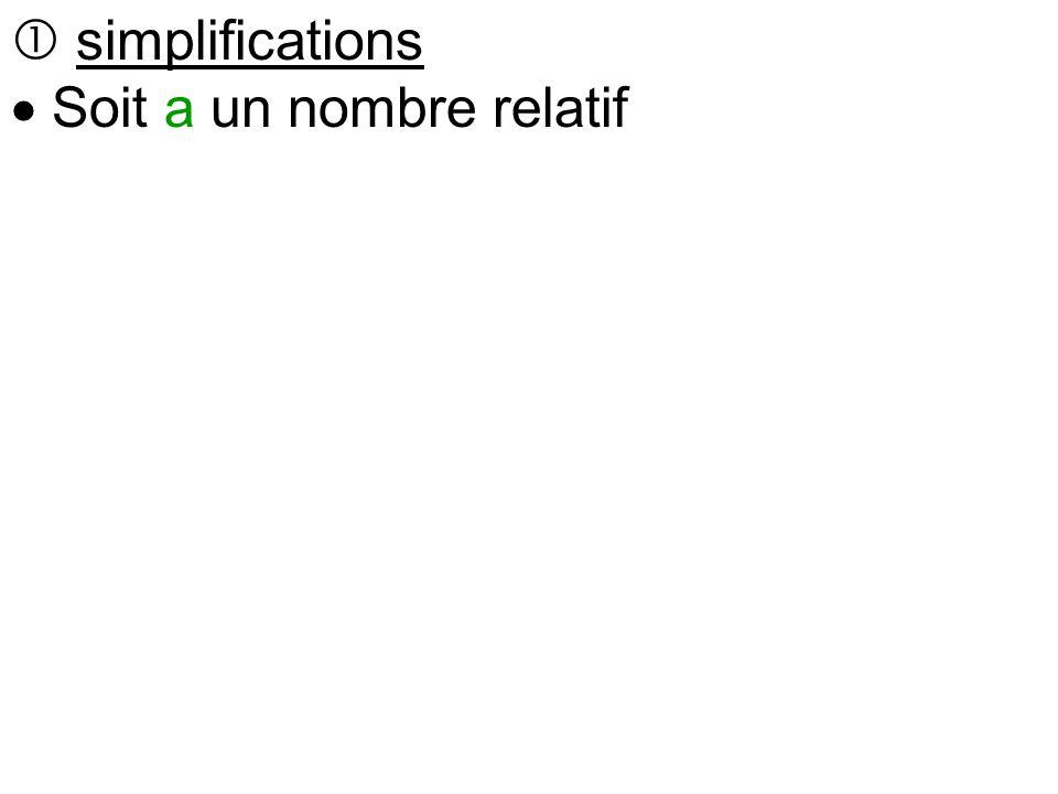  simplifications  Soit a un nombre relatif