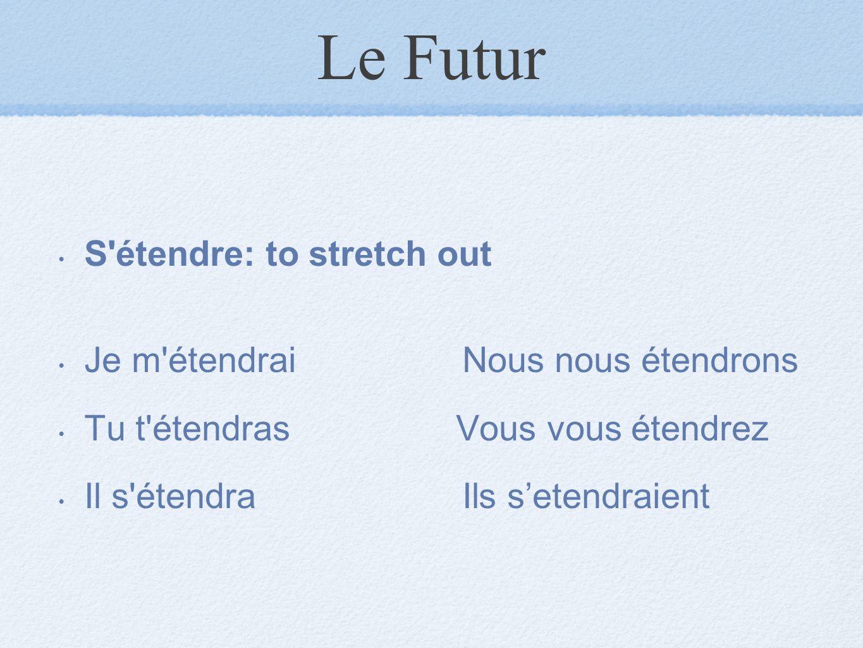 Le Futur S étendre: to stretch out Je m étendrai Nous nous étendrons