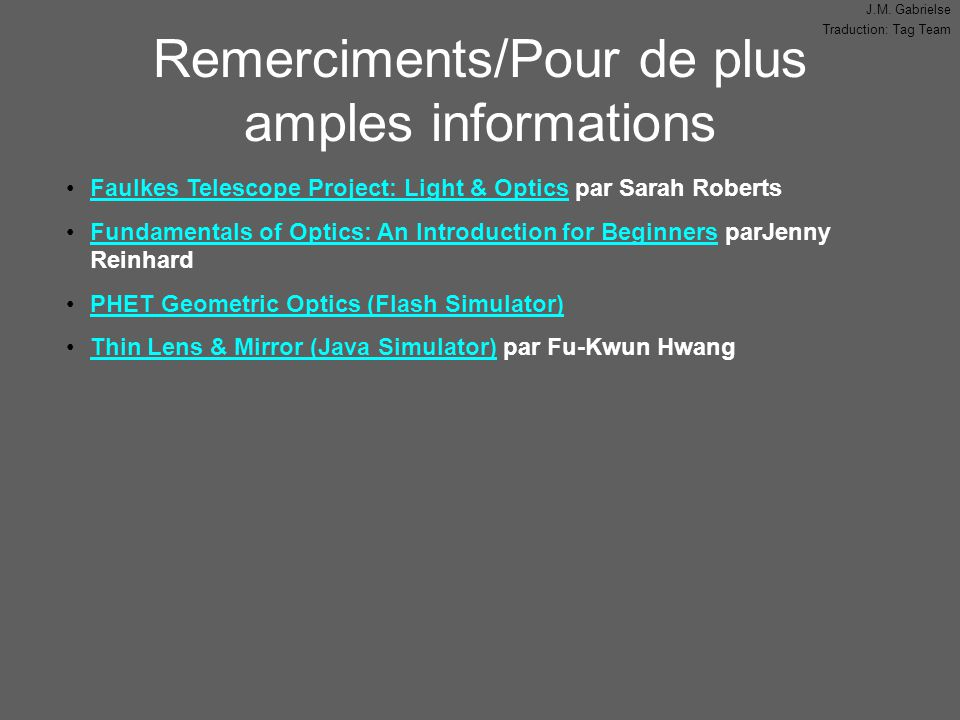 Remerciments/Pour de plus amples informations