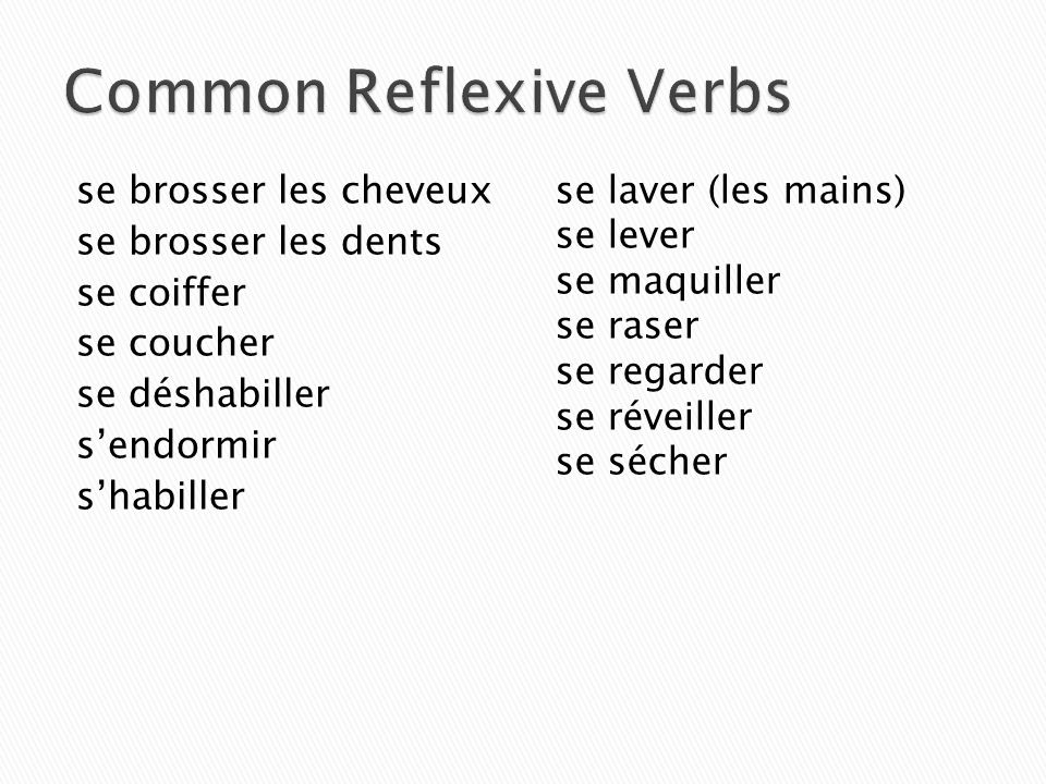 Common Reflexive Verbs