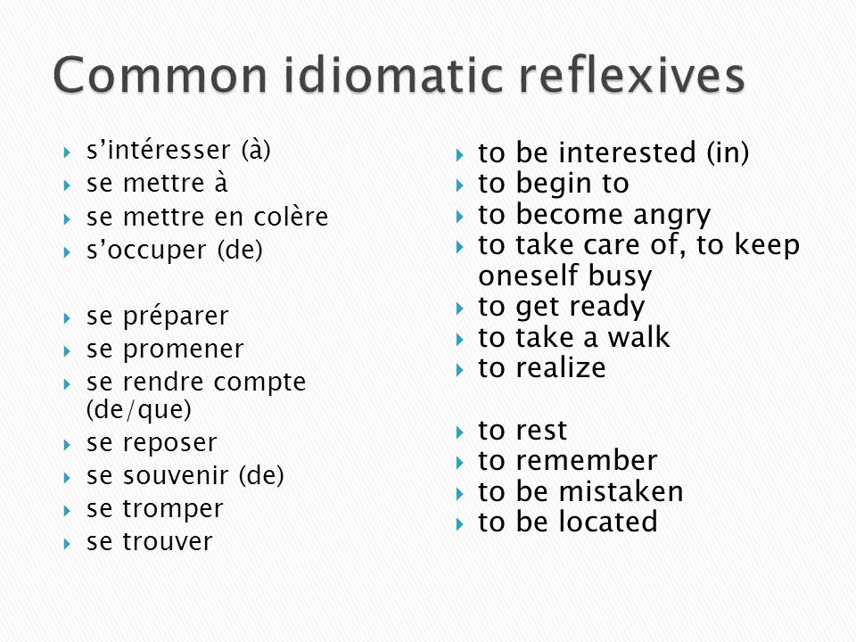 Common idiomatic reflexives