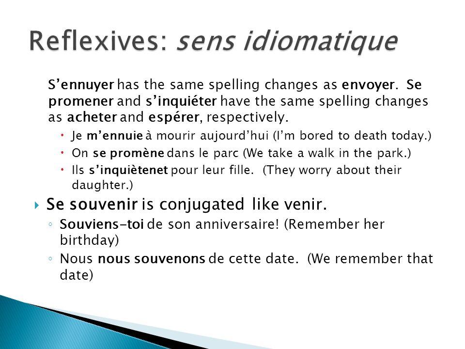 Reflexives: sens idiomatique