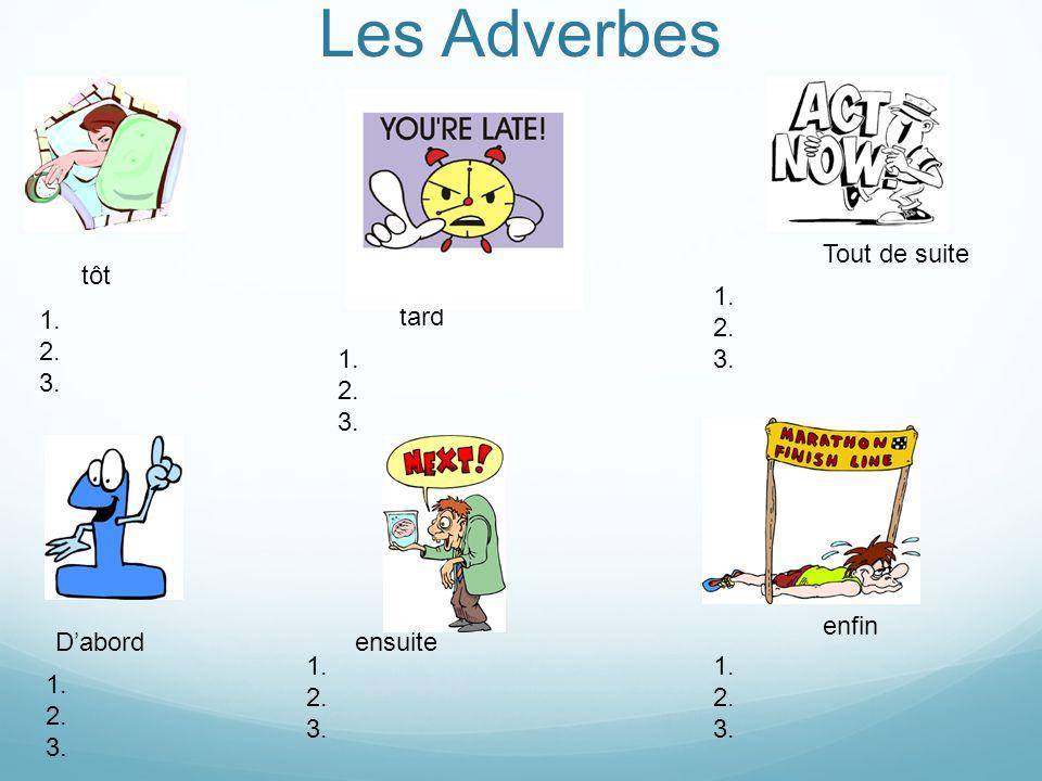 Les Adverbes Tout de suite tôt 1. 2. 3. 1. 2. 3. tard 1. 2. 3. enfin