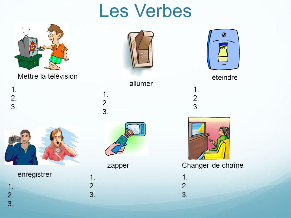 Les Verbes Mettre la télévision éteindre allumer 1. 2. 3. 1. 2. 3. 1.