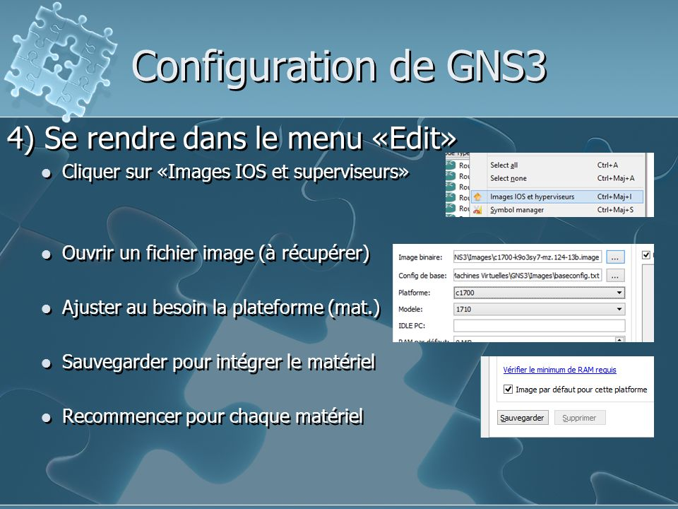 Configuration de GNS3 4) Se rendre dans le menu «Edit»