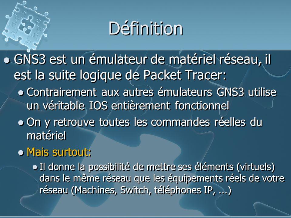 Définition GNS3 est un émulateur de matériel réseau, il est la suite logique de Packet Tracer: