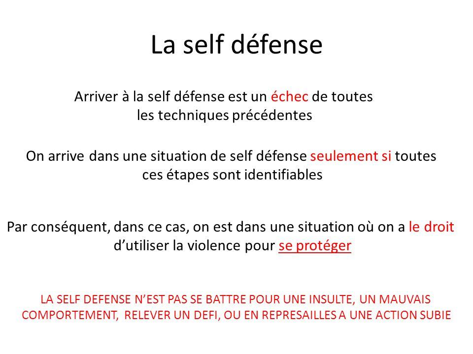 La self défense Arriver à la self défense est un échec de toutes
