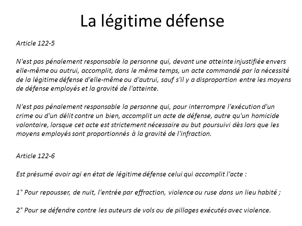 La légitime défense Article 122-5