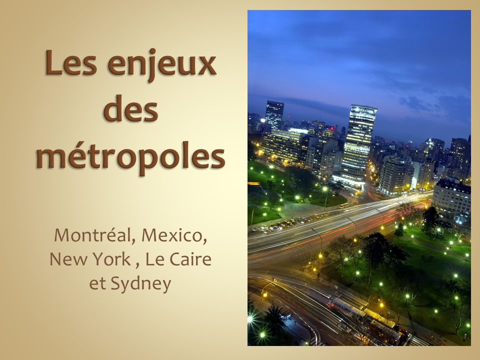 Les enjeux des métropoles
